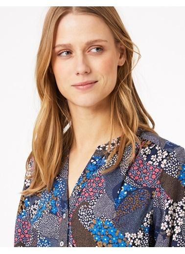 Marks & Spencer Desenli Uzun Kollu Bluz Lacivert